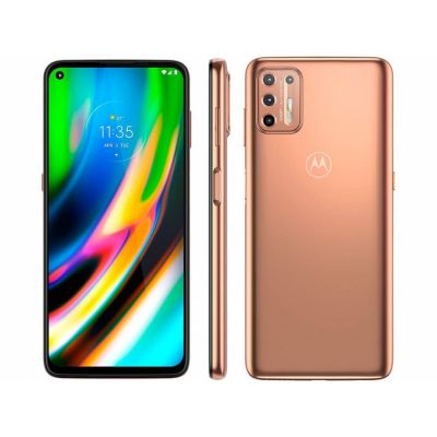 "Smartphone Motorola Moto G9 Plus ouro 128GB  4GB 6,8"" Câm. Quad 64Mp Selfie 8Mp"